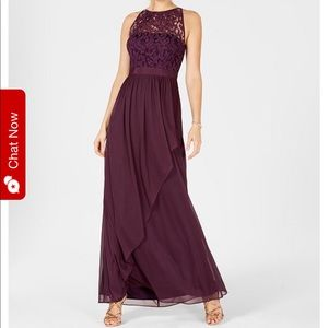 Adrianna Papell lace halter gown in Currant